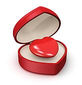 Red heart in jewelry box