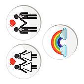 Gay, lesbian marriage, rainbow icon