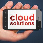 Cloud technology concept: Cloud Solutions on smartphone