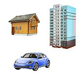 Wooden Cottage, Blue little car, skyscraper, apartment building,  Isolated illustration on white background.