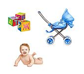 Little baby naked laying on his belly, colorful childish cubes, modern pram isolated on white backgrond