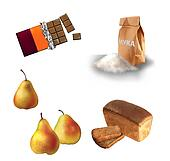 Chocolate bar, Wheat flour, Loaf of rye bread and pears Isolated illustration on white background.