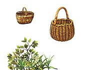 Large and small empty basket, lily of the valley, Plants and bush branches Isolated illustration on white background.