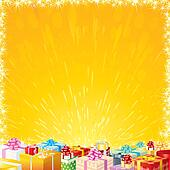 Festive background with Motley Gift Boxes
