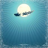 Santa's Sleigh In Christmas Night