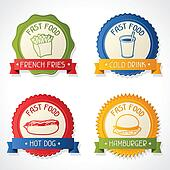 Set of badges with burger, hot dog, french-fry and drink.