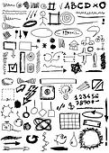 doodle, numbers, shapes, circle