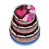 Cake with roses and heart