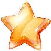 magic gold glossy star isolated
