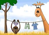 Digital painting of a monkey hanging his laundry from a line around a giraffe's neck.