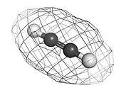 Acetylene (ethyne) gas welding fuel, molecular model.