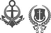 Marine anchors with ribbons and laurel wreathes