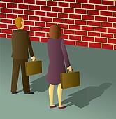 Business People Brick Wall