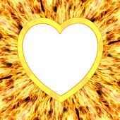 Heart shaped frame on flame background