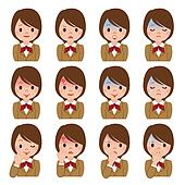 Expression of multiple schoolgirl