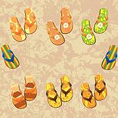 Flip flop set. Illustration on grunge background