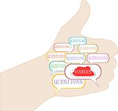 Human hand with question concept of an answer to a question
