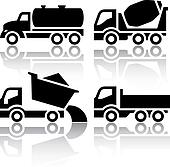 Set of transport icons - Tipper and Concrete mixer truck