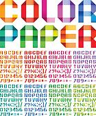 Spectral alphabet folded of paper ribbon colour
