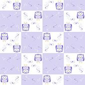 Cute blue seamless owl background patten for kids