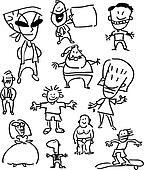 Set of people - simple cartoon drawings