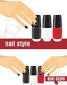 Female hands and bright nail polish