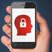 Information concept: Head Whis Padlock on smartphone