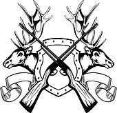 elk heads and crossed rifle
