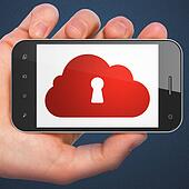 Cloud technology concept: Cloud Whis Keyhole on smartphone