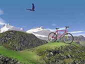 Red mountain bike - 3D render