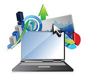 laptop Business financial economy concept