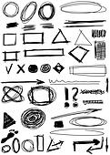 hand drawn shapes, circle, square,