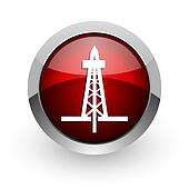 drilling red circle web glossy icon