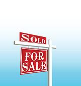 Sign of sold and for sale vector
