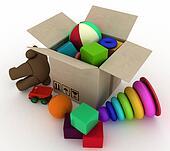 child's toys are in a box.