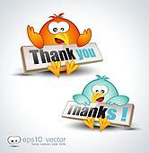 "Funny Cartoon Birds 3D icon to say ""Thank you"""
