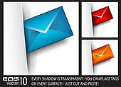 Email paper tag with transparent shadows
