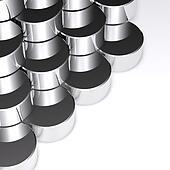 Abstract chrome cylindrical on white background