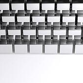 Abstract chrome cubes on white background