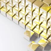 Abstract golden cubes on white background