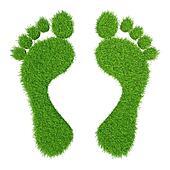 green herbal human footprints