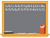 Blackboard, Alphabet, Eraser, Chalk
