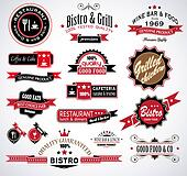 Premium quality collection of Restaurant, bistro and food & co labels with different styles and space for text.