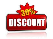 30 percentages discount 3d red banner with star