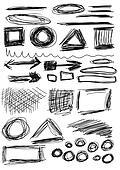 hand drawn shapes, circle, square