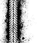 Tire track on ink blots