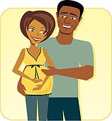 Cartoon image of Happy Pregnant Couple