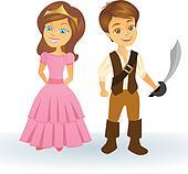 Cute cartoon princess and pirate kids