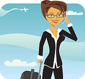 Business Woman talking on phone in airport