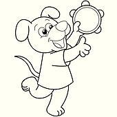 Cartoon Dog Playing a Tambourine